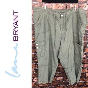 Lane Bryant Linen Blend Cargo Capris